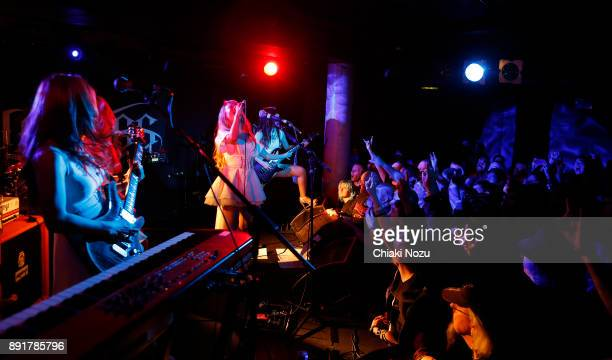 Miya Asami and Midori of Lovebites perform live on stage at Underworld on November 27 2017 in London England