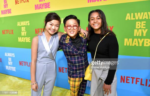 Miya Cech, Emerson Min and Sasha Rojen attend the world premiere of Netflix's 'Always Be My Maybe' at Regency Village Theatre on May 22, 2019 in...