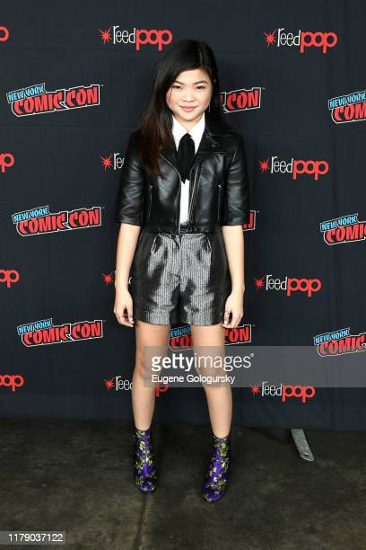 Miya Cech poses for a photo during Nickelodeon's Are You Afraid of the Dark? photo call at New York Comic Con 2019 - Day 2 at Jacobs Javits Center on...