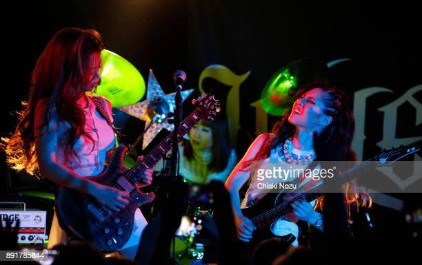 Miya Haruna and Midori of Lovebites perform live on stage at Underworld on November 27 2017 in London England