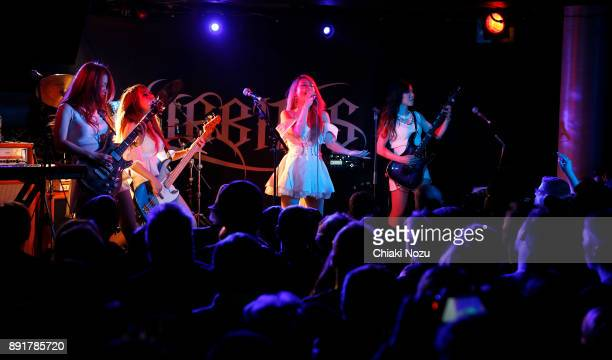 Miya Miho Asami and Midori of Lovebites perform live on stage at Underworld on November 27 2017 in London England
