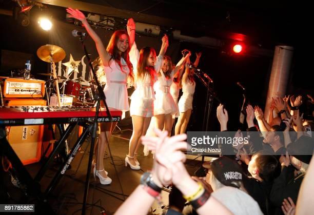Miya Miho Asami Haruna and Midori of Lovebites perform live on stage at Underworld on November 27 2017 in London England