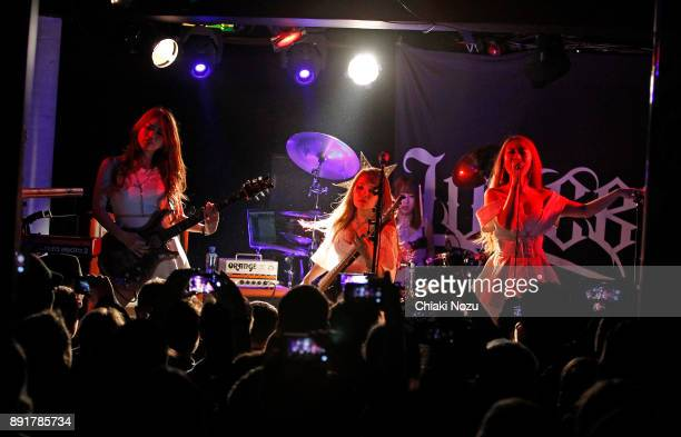 Miya Miho Haruna and Asami of Lovebites perform live on stage at Underworld on November 27 2017 in London England