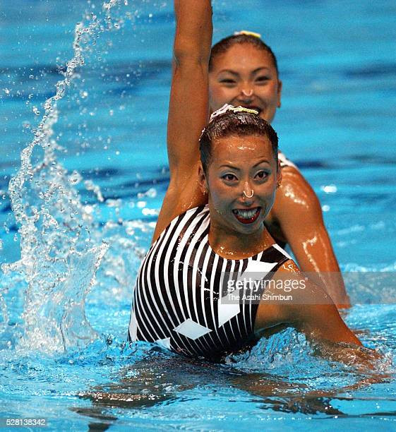 Miya Tachibana and Miho Takeda of Japan compete in the Synchronised Swimming Duet Final at the World Swimming Championships at the Marine Messe on...