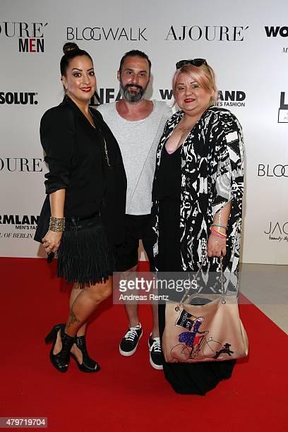 Miyabi Kawai Tobias Bojko and Betty Amrhein attend the AJOURE Berlin Fashion Week Opening Party at LNFA Space Bikini Berlin on July 6 2015 in Berlin...