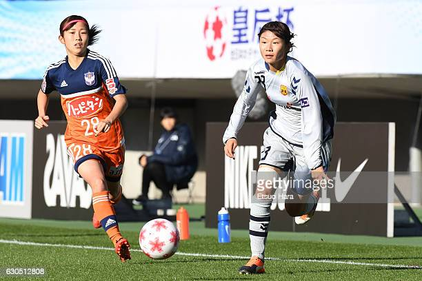 Miyabi Moriya of INAC Kobe Leonessa and Mei Yasaka of Albirex Niigata Ladies compete for the ball during the 38th Empress's Cup Final between Albirex...