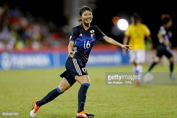 Miyabi Moriya of Japan celebrates scoring a goal during the FIFA U20 Women's World Cup Quarter Final match between Japan and Brazil at the National...