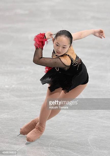 Miyabi Oba of Japan performs in the Ladie's short program during All Japan Figure Skating Championships at Saitama Super Arena on December 22 2013 in...