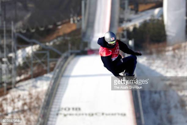 Miyabi Onitsuka of Japan competes in the first jump during the Snowboard Ladies' Big Air Final on day thirteen of the PyeongChang 2018 Winter Olympic...