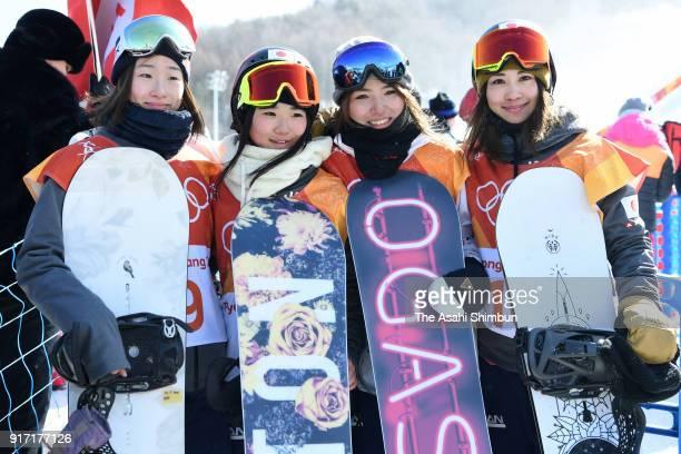 Miyabi Onitsuka Reira Iwabuchi Asami Hirono and Yuka Fujimori of Japan pose for photographs after competing in the Snowboard Ladies' Slopestyle Final...