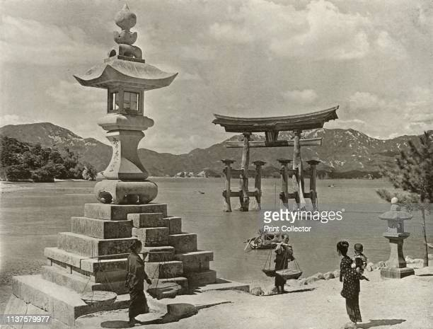 Miyajima', 1910. Itsukushima Shrine, dedicated to the Shinto god of seas and storms, and brother of the sun goddess Amaterasu and listed as a UNESCO...