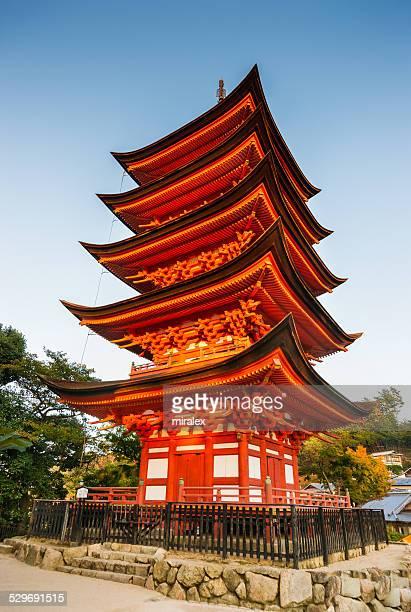 Miyajima Five-Story Pagoda at Sunset, Japan