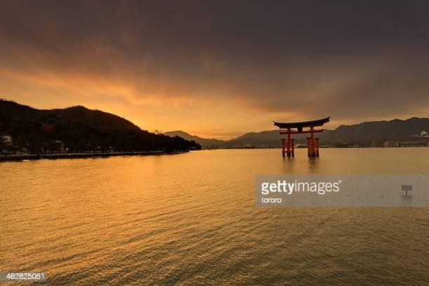 Miyajima Island sunset with Shinto Torii gate