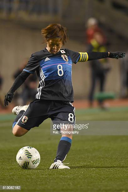 Miyama Aya takes Free Kick during the AFC Women's Olympic Final Qualification Round match between Australia and Japan at Kincho Stadium on February...