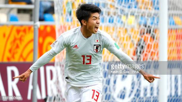Miyashiro of Japan score his team's first goal during the 2019 FIFA U20 World Cup group B match between Mexico and Japan at Gdynia Stadium on May 26...