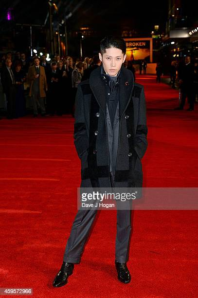 Miyavi attends the UK Premiere of 'Unbroken' at Odeon Leicester Square on November 25 2014 in London England