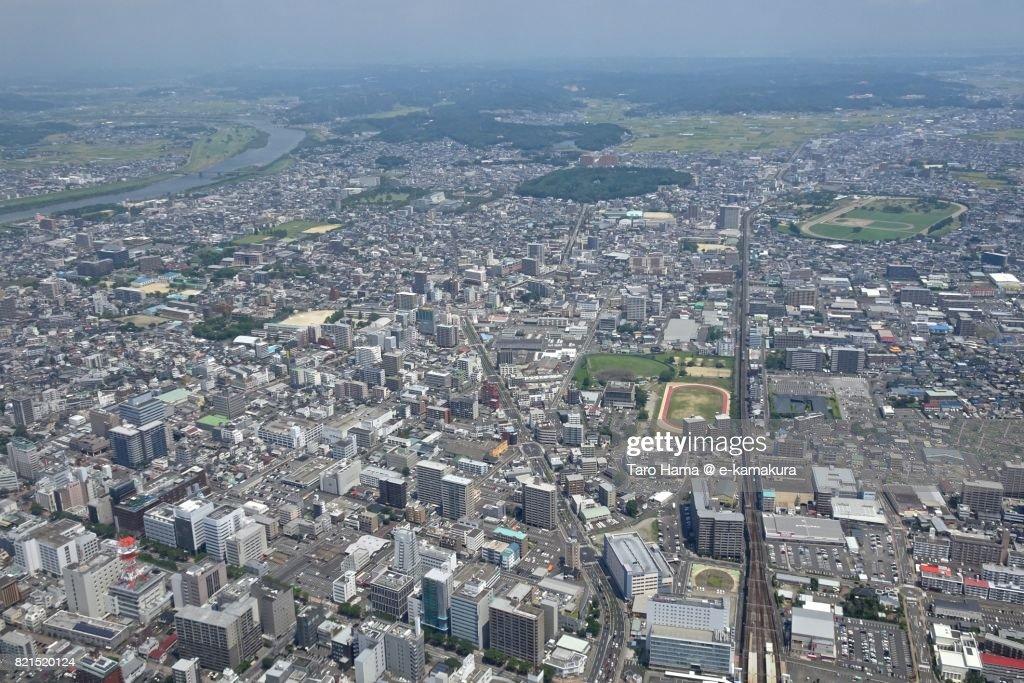 Miyazaki city in Miyazaki prefecture daytime aerial view from airplane : ストックフォト