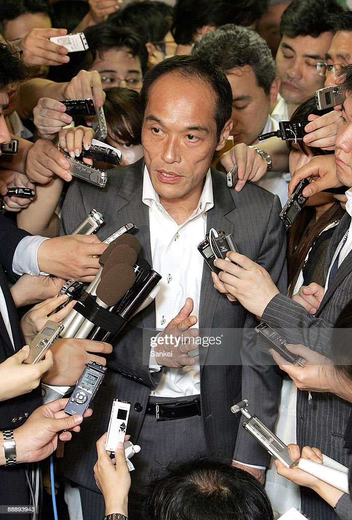 Miyazaki Governor Higashikokubaru Meets LDP Election Chief Koga : News Photo