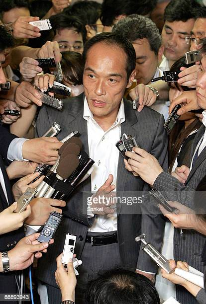 Miyazaki Prefecture Governor Hideo Higashikokubaru is surrounded by reporters after the meeting with Makoto Koga Liberal Democratic Party Chairman of...