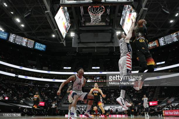 Miye Oni of the Utah Jazz shoots the ball during the game against the Washington Wizards 1 on April 12, 2021 at vivint.SmartHome Arena in Salt Lake...
