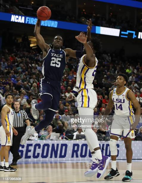 Miye Oni of the Yale Bulldogs takes a shot against Emmitt Williams of the LSU Tigers in the second half during the first round of the 2019 NCAA Men's...