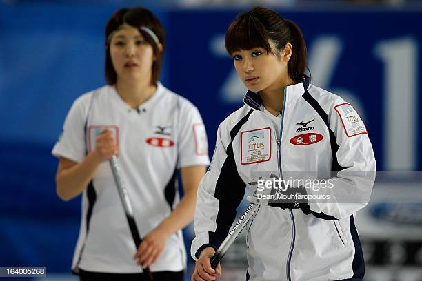 Miyo Ichikawa and Chiaki Matsumura both of Japan look on in the match between Japan and Italy on Day 4 of the Titlis Glacier Mountain World Women's...