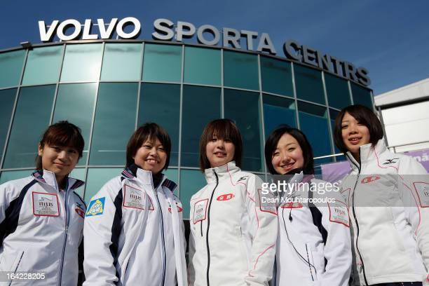 Miyo Ichikawa Miyuki Satoh Chiaki Matsumura Satsuki Fujisawa and Emi Shimizu of Team Japan pose in front of the venue on Day 6 of the Titlis Glacier...