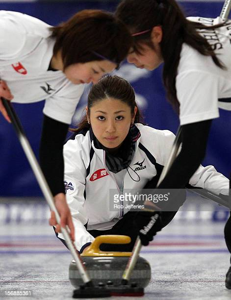 Miyo Ichikawa of Japan during the Pacific Asia 2012 Curling Championship at the Naseby Indoor Curling Arena on November 24 2012 in Naseby New Zealand