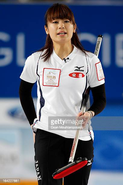 Miyo Ichikawa of Japan gives instructions to team mates in the match between Japan and Canada on Day 6 of the Titlis Glacier Mountain World Women's...