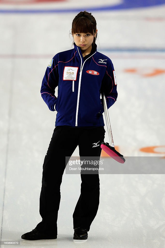Miyo Ichikawa of Japan looks in the match between Japan and Latvia during Day 2 of the Titlis Glacier Mountain World Women's Curling Championship at the Volvo Sports Centre on March 17, 2013 in Riga, Latvia.