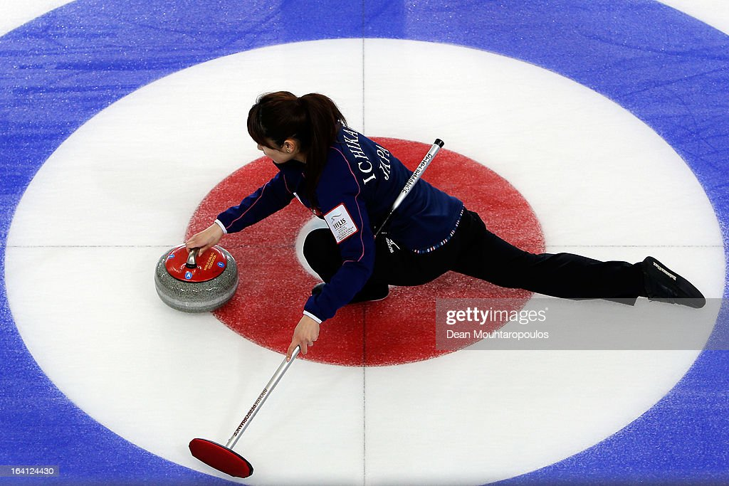 Miyo Ichikawa of Japan throws the stone in the match between Japan and Sweden on Day 5 of the Titlis Glacier Mountain World Women's Curling Championship at the Volvo Sports Centre on March 20, 2013 in Riga, Latvia.