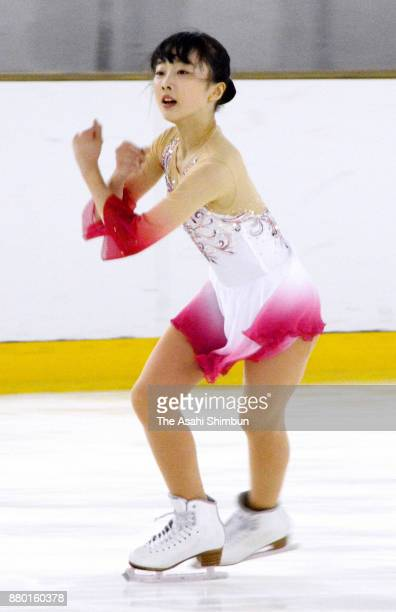 Miyu Honda competes in the Ladies Singles Free Skating during day three of the 86th All Japan Figure Skating Junior Championships at ALSOK Guma Ice...