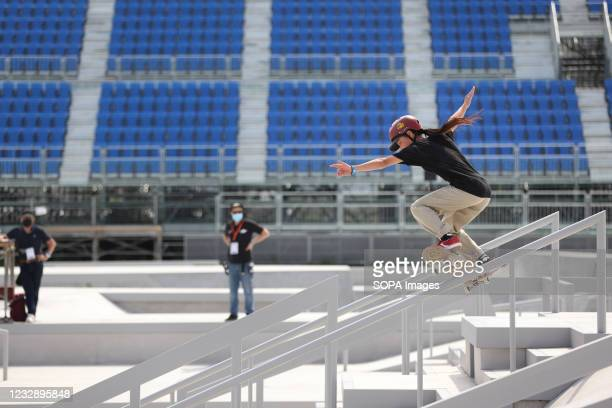 Miyu Ito performs her routine during the READY STEADY TOKYO Skateboarding Test Event at Ariake Urban Sports Park in course of the preparations for...