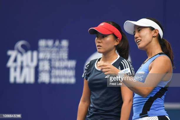 Miyu Kato and Makoto Ninomiya of Japan compete against Xinyu Jiang and Zhaoxuan Yang of China during their women's doubles match on day 5 of the 2018...