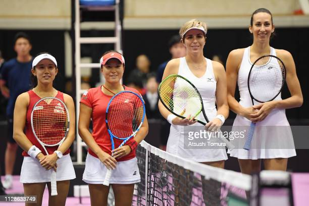 Miyu Kato and Makoto Ninomiya of Japan Maria Jose Martinez Sanchez and Georgina GarciaPerez of Spain pose before their Women's Doubles match on day...