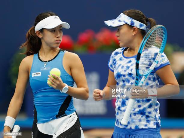 Miyu Kato of Japan and Makoto Ninomiya of Japan in action against Lyudmyla Kichenok of Ukraine and Nadiia Kichenok of Ukraine in the match Between...