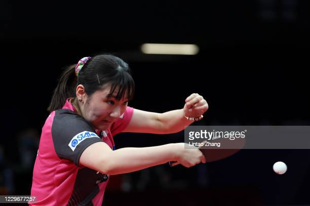 Miyu Kato of Japan competes against Chen Meng of China in the Women's Singles - Round of 16 during day one of 2020 ITTF Finals at Zhengzhou Olympic...