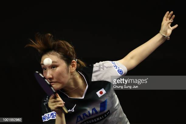 Miyu Kato of Japan competes against Feng Tianwei of Singapore in the Women Single round of 32 on day one of the Shinhan Korea Open at Daejeon Hanbat...