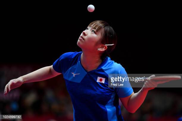 Miyu Maeda of Japan in action during the Women's Team Table Tennis Quarterfinals match between Japan and China at the Jiexpo Hall on day nine of the...