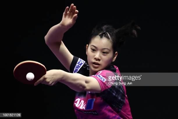 Miyu Nagasaki of Japan competes against ChengI Ching of Taiwan in the Women Single round of 32 on day one of the Shinhan Korea Open at Daejeon Hanbat...
