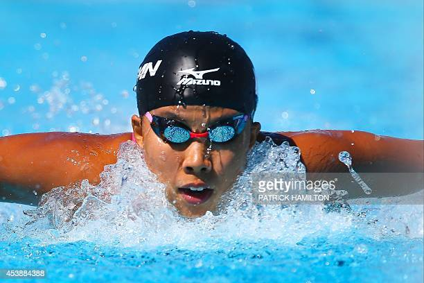 Miyu Nakano of Japan swims during the 200m freestyle heat at Gold Coast Aquatic Centre in Gold Coast on August 21 2014 The Pan Pac swimming...