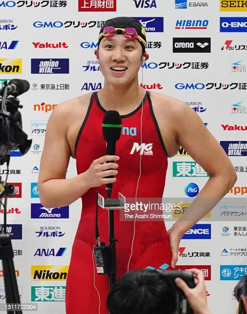 Miyu Namba is interviewed after competing in the Women's 800m Freestyle final on day seven of the 97th Japan Swimming Championships at the Tokyo...
