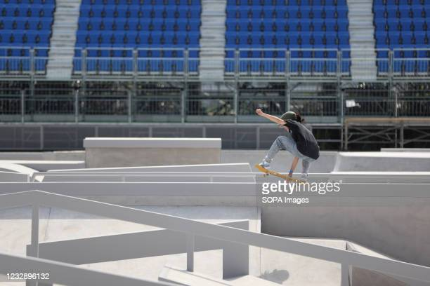 Miyu Sasaki performs her routine during the READY STEADY TOKYO Skateboarding Test Event at Ariake Urban Sports Park in course of the preparations for...