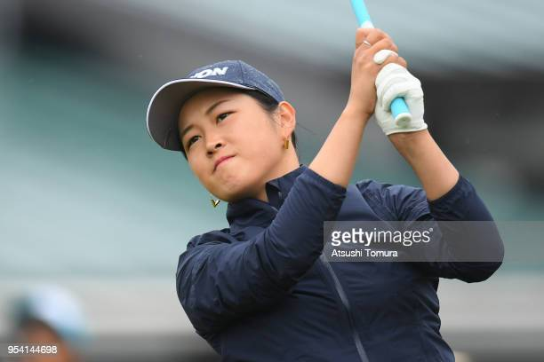 Miyu Shinkai of Japan hits her tee shot on the 10th hole during the first round of the World Ladies Championship Salonpas Cup at Ibaraki Golf Course...
