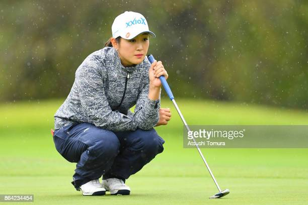 Miyu Shinkai of Japan lines up her putt on the 8th hole during the third round of the Nobuta Group Masters GC Ladies at the Masters Golf Club on...