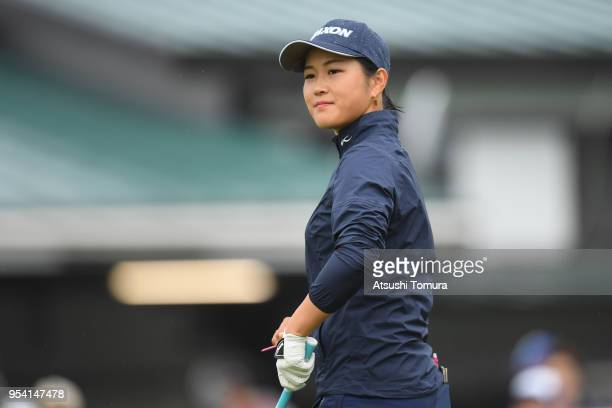 Miyu Shinkai of Japan looks on during the first round of the World Ladies Championship Salonpas Cup at Ibaraki Golf Course West Course on May 3 2018...