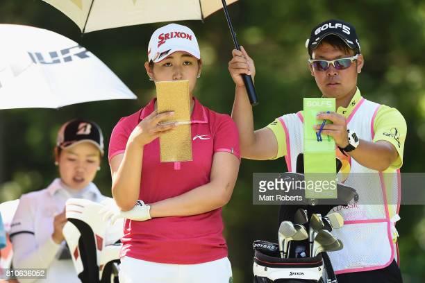 Miyu Shinkai of Japan looks on during the second round of the Nipponham Ladies Classics at the Ambix Hakodate Club on July 8 2017 in Hokuto Hokkaido...