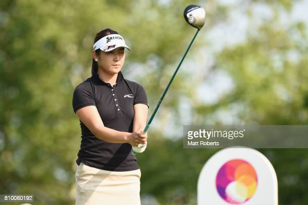 Miyu Shinkai of Japan prepares for her tee shot on the 1st hole during the first round of the Nipponham Ladies Classics at the Ambix Hakodate Club on...