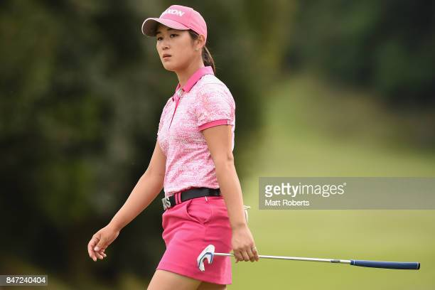 Miyu Shinkai of Japan reacts after her putt on the 9th green during the first round of the Munsingwear Ladies Tokai Classic 2017 at the Shin Minami...