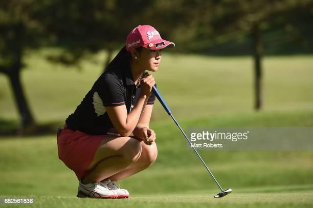 Miyu Shinkai of Japan waits to putt on the 8th green during the second round of the HokennoMadoguchi Ladies at the Fukuoka Country Club Wajiro Course...